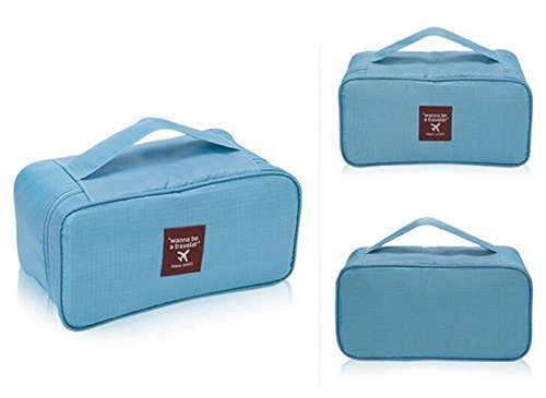 Reisende Beauty Case (hiibaby® Portable wasserdicht Multifunktions-Frauen Lady Travel Organizer BH Aufbewahrungsbox Unterwäsche Dessous Bag Kosmetik Make-up Tasche Toiletry Wash Storage)