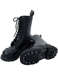 Knightsbridge 10 Agujero Botas militares Botas Zapatos Bajos gothicschuhe PUNTERAS Negro Varios Tamaños