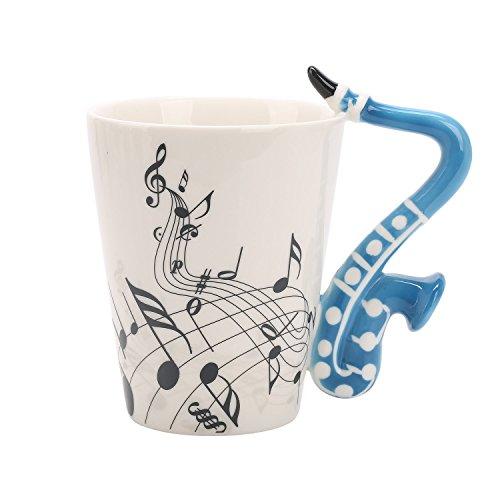 BUYNEED Blau Saxophon Musik Neuheit Kreativ Keramik Tassen Teetassen Kaffeetassen Instrument Tasse Becher 12 oz,Geschenk für Geburtstag Hochzeit