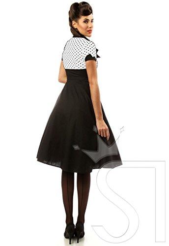 50er Jahre Rockabilly Tupfen Petticoat Kleid mit Gürtel C502905, Größe:44;Farbe:weiß -