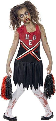 ie Cheerleader Halloween Kinderkostüm Rot-Schwarz 140/152 (10-12 Jahre) (Böses Mädchen Cheerleader Kostüm)