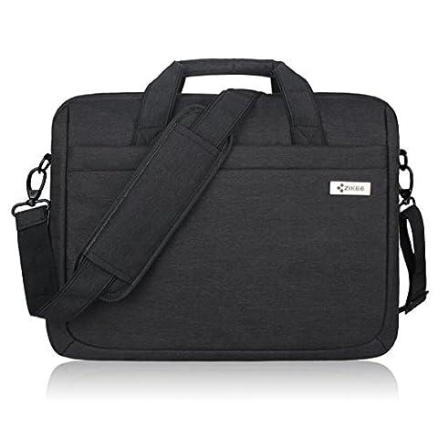 Zikee 17,3 Zoll wasserfeste und 360° stoßfeste Messenger-Bag als Schutz für Ihren Laptop/Notebook mit Handgriff und Schultergurt für Schule, Studium, Reisen und im Büro und für geschäftliche Nutzung (Schwarz)