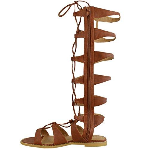 Scarpe Basse Da Donna Al Ginocchio Sandali Da Gladiatore Gabbia Stivali Con Lacci Misura Tan Simil Pelle