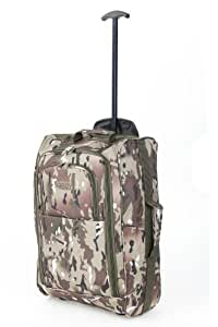 5 Cities Hand Luggage Travel Holdall Baggage Wheely Suitcase Cabin Approved Bag 55x35x20Ryanair Easyjet And Many More - 1.65k - 42 Litres - PADLOCK INCLUDED (1 Piece, Camo)