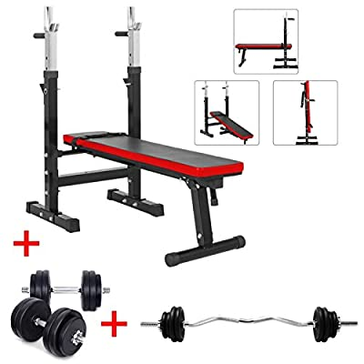 TNP Products TnP Adjustable Folding Weight Bench Gym Multi Exercise Flat + Dumbbell Weight Set 30KG + EZ Barbell Curl Bar Set 23.5KG by TnP