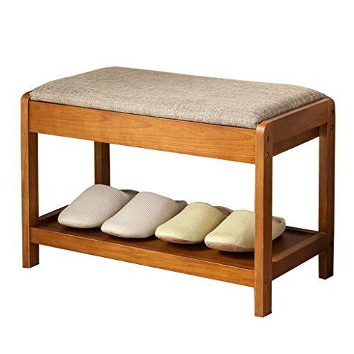Schuhe Rack Seat Shoe Racks 2-Tier-Schuhaufbewahrungsbank Holz-Flur-Schuhregal Osmanischer Retro-Schuh-Schuh-Organisator-Schrank mit Sitzkissen für Badezimmer/Wohnzimmer und Flur Multifunktionale F