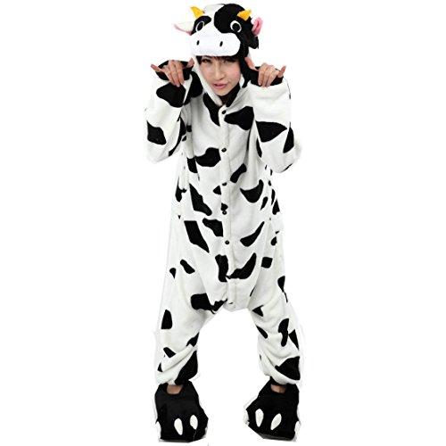 Yimidear® Unisex Adult Pyjamas Cosplay Tier Onesie Nachtwäsche Nachtwäsche Milk cow