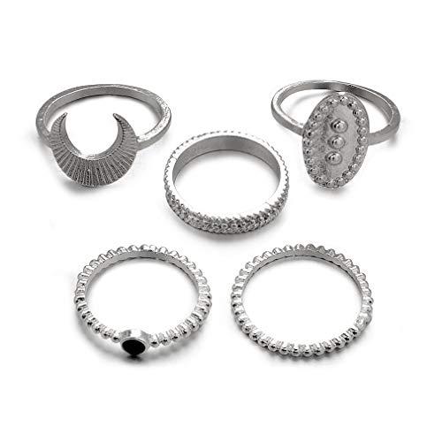 Yinew 5 Pcs Vintage Frauen Mid Ring Set Mond Gelenk Knuckle Nagel Midi Ring Set, Silber