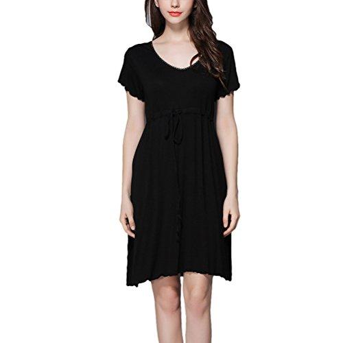 Zhuhaitf Women's Chemise Nachthemd Lingerie Elastic Nightwear Sleepwear Solid (Size Hai Kostümen Plus)