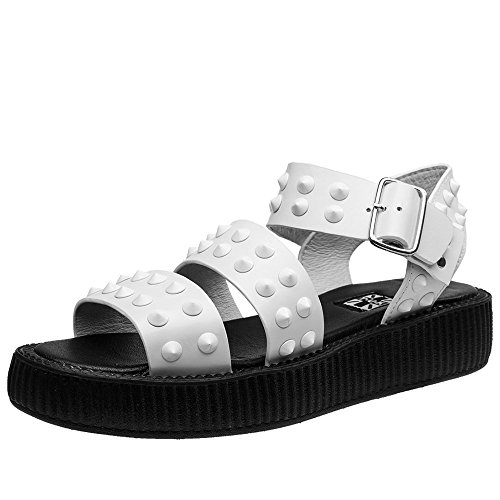 T.U.K. Shoes Women's Limited Edition White Studded Buckle Sandal white