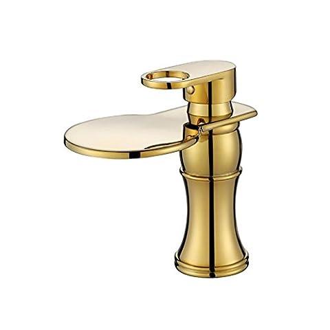 G&Z Modern Bathroom Basin Mixer Tap European Style Single Handle Single Hole Wide Spout Waterfall Sink Faucet Gold Plated Brass