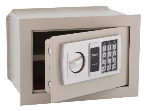 TORO Cassaforte Elettronica a Muro con Combinazione in Acciaio, Bianco, 42x20x30