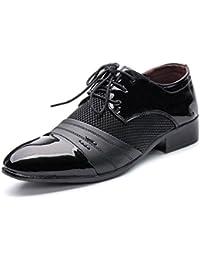 Chaussures en Cuir pour Hommes D'affaires Lisses en Cuir PU Splice Upper Lace Up Mesh Oxford Mesh Respirant Chaussures de Sport en Cuir pour Hommes (Color : Black, Size : 46 EU)