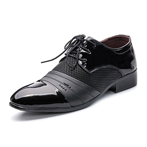 Schuhe Herren Business Schuhe Glatte PU Leder Splice Oberteil Lace Up Atmungsaktives Mesh Oxfords Mode Slipper (Color : Schwarz, Größe : 47 EU) Mesh-oxford