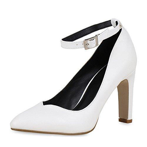 SCARPE VITA Spitze Damen Pumps Lack Riemchen Stiletto High Heels Party Schuhe 163949 Weiss 39
