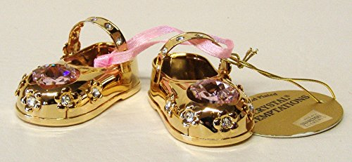 Swarovski-Components-CRYSTAL-TEMPTATIONS-Baby-scarpe-Bimba-Rosa-In-Oro-Cristalli-Swarovski-24-carati-placcata-antiappannante-dimensioni-52-cm-x-27-cm