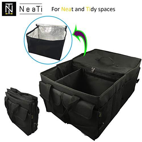 Organizador de maletero del coche de ALTA CALIDAD, PLEGABLE con 2 compartimentos, refrigerador flexible y extraíble y 11 bolsillos exteriores. Bolsa RIGIDA (paneles de refuerzo alrededor) y ESTABLE