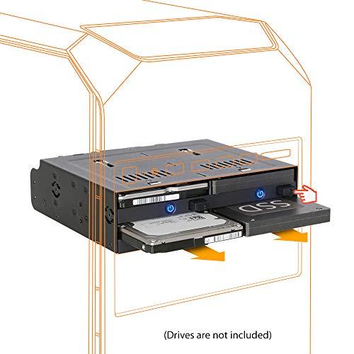 ICY DOCK flexiDOCK MB524SP-B - Wechselrahmen für 4x 2,5 Zoll SATA / SAS SSD / HDD in 1x 5,25 Zoll Schacht - Trägerlos, Schwarz