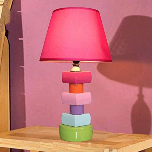 YYF Tischleuchte American-style handbemalte Keramik-Blöcke Nachttischlampe Schlafzimmer Lampe reizender Schatten des rosafarbener keramischer Stoff E14 Single Head