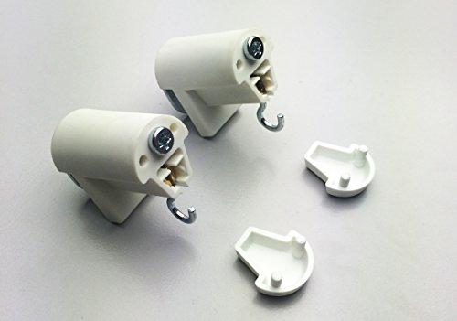 KLEMMFLEX Klemmträger HFX mit Haken für Bambusrollo, -rollup mit Dreieck-Ösen zur Montage direkt auf den Fensterflügel ihres PVC-/Kunststofffensters ~ Farbe: weiss ~ OHNE BOHREN ~ 1 Paar = 2 Stück (2 Fenster Weiße Holz-jalousien,)
