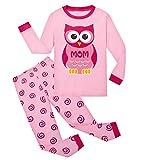 Tkiames Mädchen Pyjama Giraffe Langarm Baumwolle Schlafanzug Set Nachtwäsche Nachtwäsche Gr. 3-4 Jahre, Eule