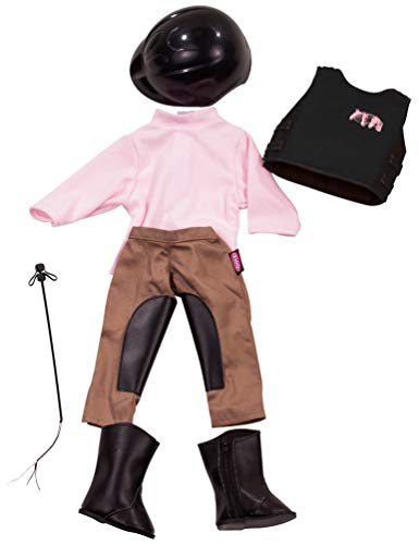 Götz 3401553 Kombination Reitspaß - Reiter Outfit Puppenbekleidung Gr. XL - 7-teiliges Bekleidungs- und Zubehörset für Stehpuppen 45 - 50 cm
