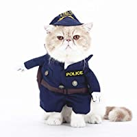 smalllee_lucky_store Funny Cat Halloween Costume Dog Police Costume with Hat Pet Outfits Puppy Holiday Clothes Size M