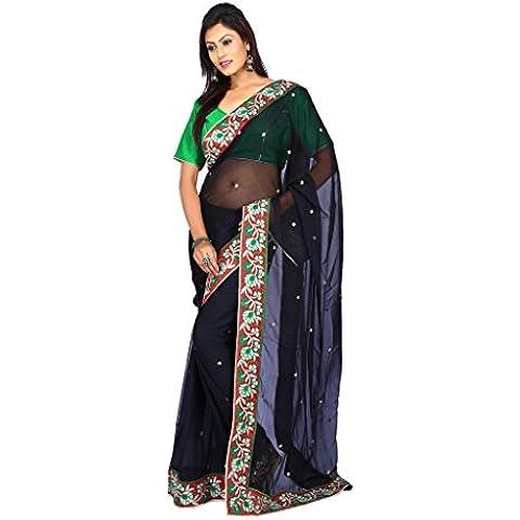 indiano Tradizionale Sari da sposa Bollywood Style Nero Chiffon Donne Saree con scucito Camicetta