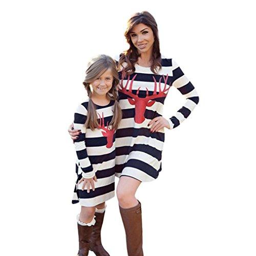 JERFER Mom & Me Mädchen Frauen Kleid Hirsch Langarm Streifen Kleid Familie Outfits Kleidung Mädchen (130, Weiß) (Me Kleidung Dress)