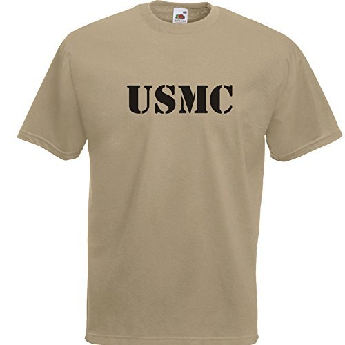 USMC T-Shirt Khaki/Druck Schwarz bis 2XL (L) -