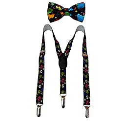 Navaksha Black Y-Back Graphic Kids Suspender with Matching Bow Tie