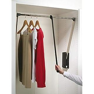 Gedotec Kleiderlift verstellbar Schrank-Lift Wardrobelift Kleiderstange - Modell Servetto | Kleiderlüfter klappbar schwarz / vernickelt | breiten-verstellbar 770 - 1200 mm | 1 Stück mit Befestigungsmaterial