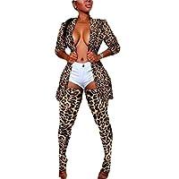 omniscient Women's Print Blazer Jacket Stockings Skinny Pants Set 2 Piece Clubwear Outfits 3 XL