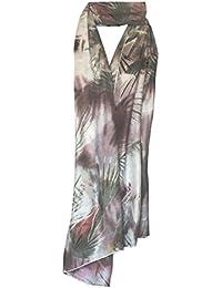 KARRMAZ 100% Natural Bamboo Cotton Scarf Floral Print Grey Color Scarf, Stole, Dupatta