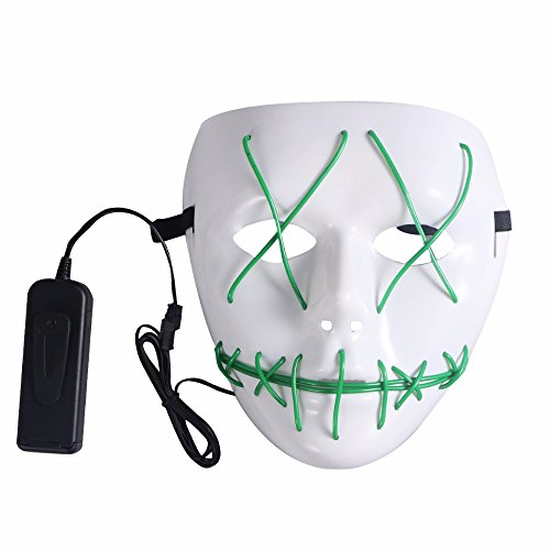 SUNREEK Halloween Scary Mask, Halloween Cosplay Led Costume Mask EL Wire Light Up Máscara para Halloween, Festival Parties (Verde)