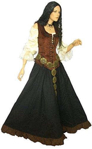 Dark Dreams Gothic Mittelalter LARP Kleid Marketenderin, Größe:S, Farbe:braun/schwarz