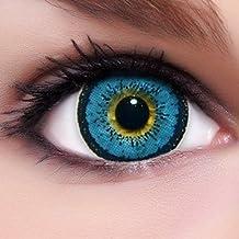 "Circle Lenses - Lentillas de color ""Angel Blue"" + 10 ml solución + recipiente para lentes de contacto, de LENZERA en verde, blandas, sin dioptrías pack de 2 unidades - cómodas y perfectas para Halloween, Carnaval, sin corregir"