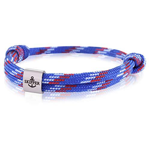 Skipper Surfer Armband mit Edelstahl Charm für Damen und Herren - Blau/Weiß/Rot 7984