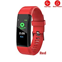 ANYIKE Fitness Tracker with Heart Rate Monitor, Sports Activity Tracker, Waterproof Pedometer Watch with Sleep Monitor for Men Women Kids (Red)