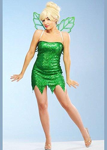 Delights Ladies Deluxe Tinkerbell Style Green Sequin Fairy Costume (Large (UK 12-14)) (Kostüm Tinkerbell Deluxe)