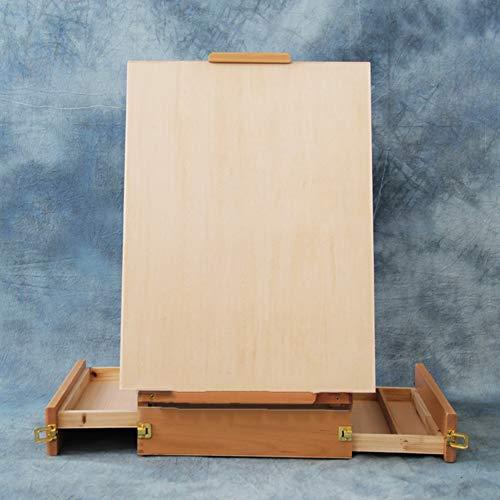 LXLA- Tragbare Malkasten Buche Künstler Staffelei Außenskizzen Toolbox Kunst Liefert Leinwand Ausstellungsstand 27,5 × 39,5 × 12 cm