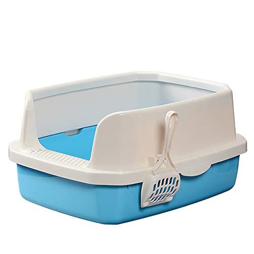 LSX Katzenstreuablage, Katzentoilette Halbgeschlossen, Müllablage Toilettenbox Hohe Seitenkante Sauber, kein Geruch (Mitte) Blau, Rosa,Blue (Blau Hoch Mülltonne)