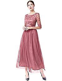 a8b4071cef7e OBEEII Abito Donna Lungo Elegante Floreale Pizzo Mezza Manica Vestito  Estivo Sexy Vestitini da Cerimonia Sposa