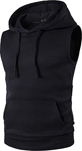 Sportides Herren Freizeit Fashion Weste Hoodie Sleevesless Sweatshirt Dress Shirts Weste Top JZA002 JZA002_Black