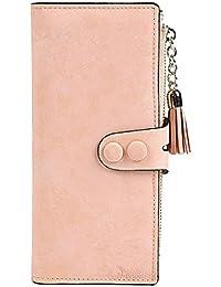 Demarkt Portefeuille Fentes Cartes Porte-Monnaie Femme Très Chic Cuir PU Fleur Luxe Bouton Pression Zip Multifonctionnel Poche Téléphone Cellulaire Pink 1PC