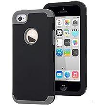 iPhone 5C Funda,Dailylux Carcasa iPhone 5c Funda iPhone 5c híbrido de alto impacto de silicona suave y cubierta de la caja dura de la PC para iPhone 5C-negro + gris
