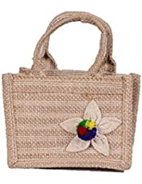 Jute Story Beyond Bars Jute 5 Inch Beige With Bright Colour Flower Small Jute Gift Bag (JSBBGB001C)