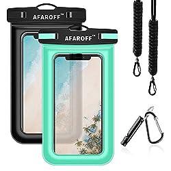 AFAROFF wasserdichte Handyhülle, 2 Stück. IPX8-zertifiziert, wasserdicht und staubdicht. Geeignet für iPhone, Samsung Galaxy, Huawei usw. Alle Anderen bis zu 6 Zoll