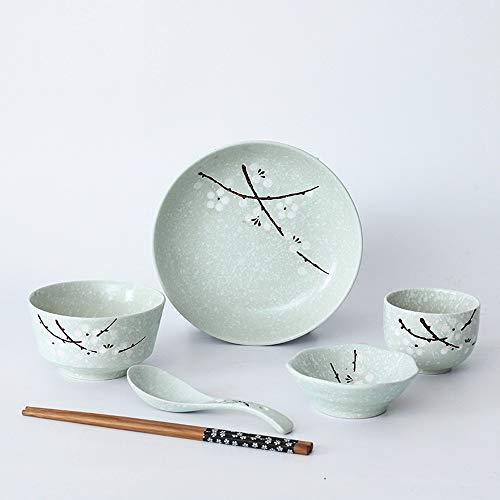 Bol Plats chinois et japonais, baguettes, assiettes, vaisselle en céramique, restaurant de l'hôtel, ensemble de table, 6 pièces, vaisselle individuelle, 4 couleurs (Couleur : Cyan)