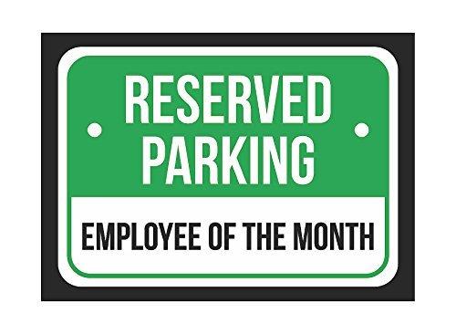 RESERVED PARKING Mitarbeiter Der Monat schwarz drucken grün und weiß Hinweis Parking Kunststoff 8x 12kleine Schilder
